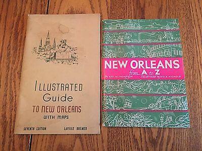 Vintage 1950's New Orleans Guides Foldout Map Lot Of 2