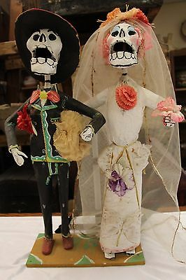 Antique Mexican Day of the Dead Wedding couple Dolls Statue Figure