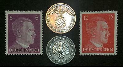 Authentic Rare Nazi 3rd Reich Coins wth SWASTIKA and HITLER Stamp Collection Lot
