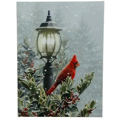 "Fiber Optic  24"" Lighted Canvas Christmas Lamp Post Cardinal Lighted Print"