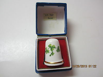 Vintage Bone China Thimble By Theodore Paul Of London-Clover Leaf-From Harrods