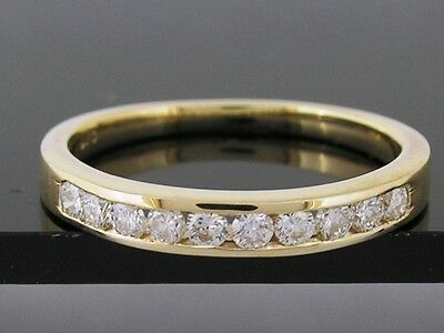 R165- Genuine SOLID 9ct Yellow Gold CZ Cubic Zirconia Wedding Ring Band size M