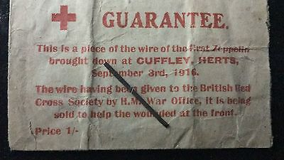 Red Cross Appeal WW1 3 September 1916, Wire from the First Crashed Zeppelin RARE