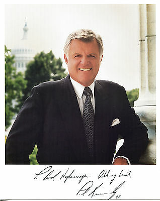 """EDWARD """"TED"""" KENNEDY - Great Color Portrait Photo - SIGNED"""
