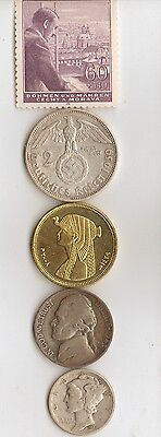 -*free   WW2  *us  NICKEL  + *WW2- *german SILVER EAGLE coin +