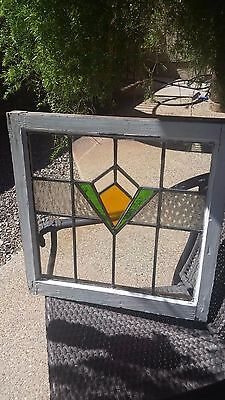 Antique Orig Stained-Glass Window With Wood Frame