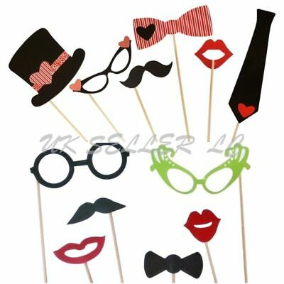 12 Piece Photo Booth Prop Set Fun Selfie Glasses Hat Lips Party Weddings Xmas