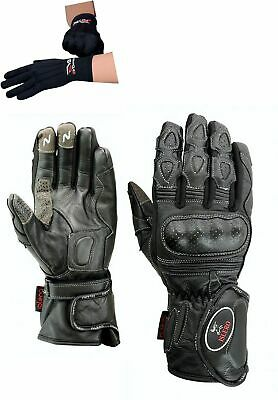 EVO Leather Motorbike Motorcycle Gloves Carbon Fiber