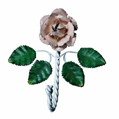 Flower Hook Wrought Iron Multi Colored Pink Rose | Renovators Supply