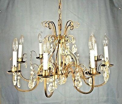ANTIQUE EARLY 20th CENTURY SCROLLED ARM BRASS+GLASS 8 ARM CHANDELIER