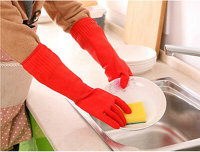 Kitchen Washing Gloves 38cm Long Waterproof Glove Rubber Latex Dish Cleaning