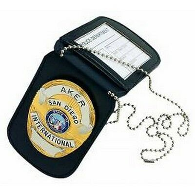 Aker Leather A597-BP Reversible Neck Badge & ID Holder - Black