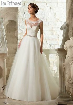 New White / Ivory Wedding Dress Bridal Gown Custom Size 6-8-10-12-14-16+