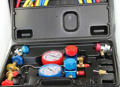 """R134A Air Conditioning Refrigeration Manifold Gauge With 60"""" Hoses Car Adapter"""