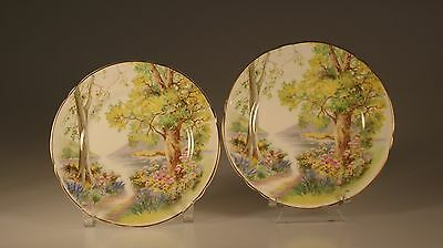 """Shelley """"Woodland"""" Pair of Bread and Butter Plates, England"""