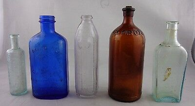 Vintage Apothecary Medical Glass Jar Bottle, Clorex, IT, Magnesia - Lot of 5