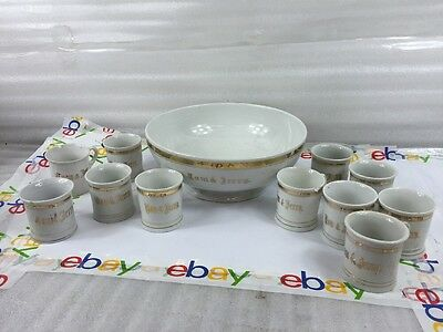 10 Rare Vintage 1950's Tom and Jerry Milk Glass Punch Cups Gold Trim No Bowl Wow