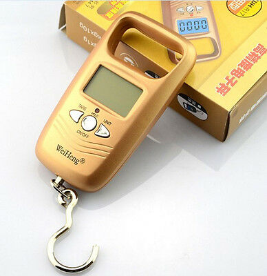 50Kg/5g LCD Digital BackLight Travel Luggage Hanging Weight Scale Gold