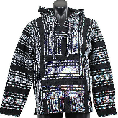 Mexican Baja Hoodie Black Surfer Pullover Poncho Size Large Unisex