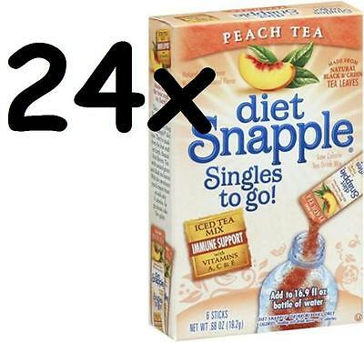 24 Boxes Diet Snapple PEACH Tea 144 SINGLES To Go packets