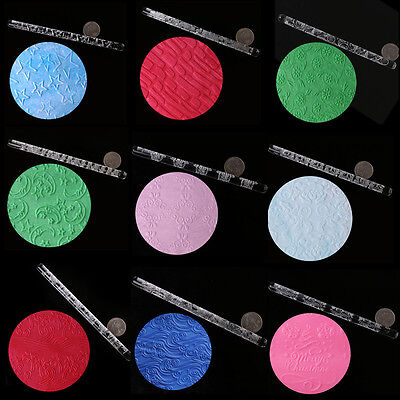 Texture Embossing Acrylic Rolling Pin 19 Various Designs Cake Icing Decorating