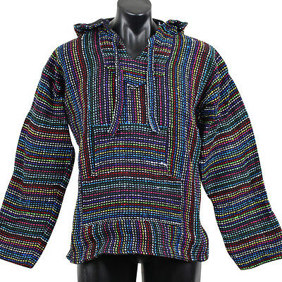 Mexican Baja Hoodie Multicoloured Surfer Pullover Poncho Size X-Large Unisex