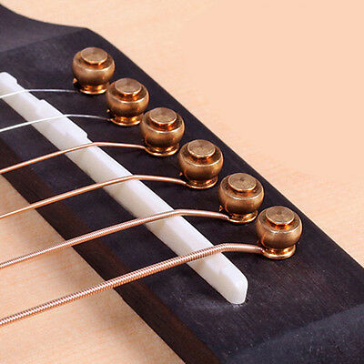 6Pcs Gold Beautiful Brass Acoustic Guitar Bridge Pins End Pin Set Guitar Parts