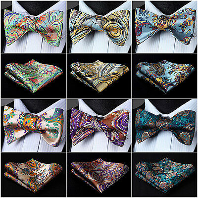 Men Woven Self Bow Tie Paisley Floral Check Dot Silk Wedding Handkerchief Set I5