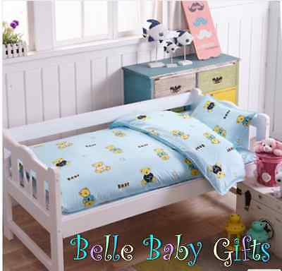 Baby Cot 3 Piece Cotton Bedding set - assorted designs for baby boys and girls
