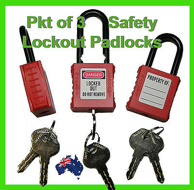 3 x  Safety Lockout Padlock Nylon Insulated 38mm Tagout Lock Safety Equipment