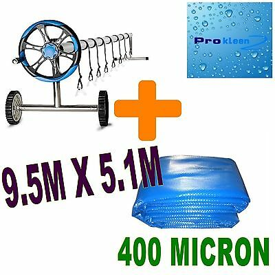 400 Micron Ourdoor Solar Swimming Pool & Cover Bubble Blanket 9.5mx5.1m Package