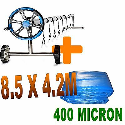 400 Microns Solar Swimming Pool Cover Bubble Blanket 8.5 x 4.2m Roller Package