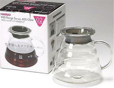 HARIO V60 RANGE COFFEE SERVER 600ml 02, CLEAR GLASS, 2-4 Cups XGS-60
