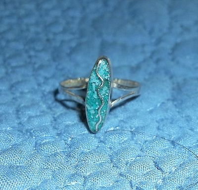 Taxco Sterling Silver Inlay Turquoise Ring