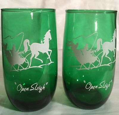 2 Vintage Anchor Hocking Forest Green Glass Tumblers Open Sleigh