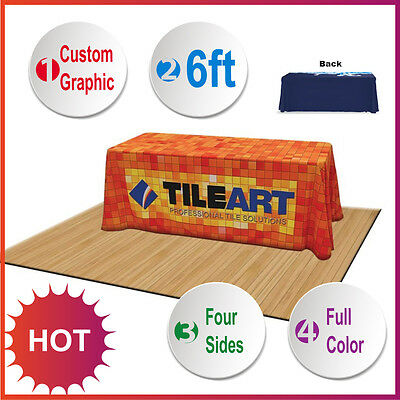 6ft Rectangular Table Throw with Custom Printing Full Color TRADE SHOW Exhibit