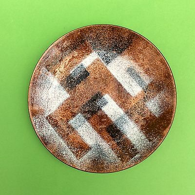 ENAMEL ON COPPER PLATE DISH Abstract Mid Century modern metal-ware collectible