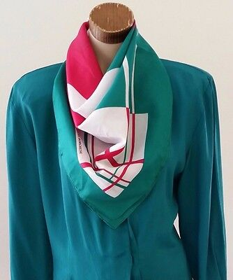 Vintage 1970s Laura Borghese GREEN PINK WHITE Geometric Print Head Neck Scarf