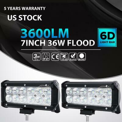2X 7Inch 36W Cree LED Work Light Bar Flood Offroad Driving Truck ATV SUV 4WD 72W