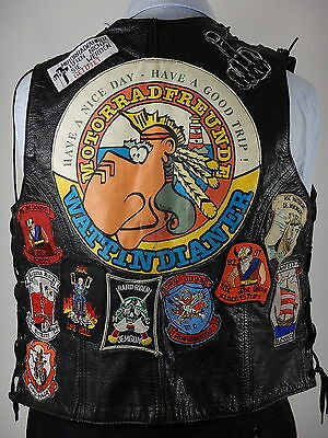 Vtg Zulfi Mens Leather Biker Motorcycle With Badges Waistcoat Vest Size Large 42
