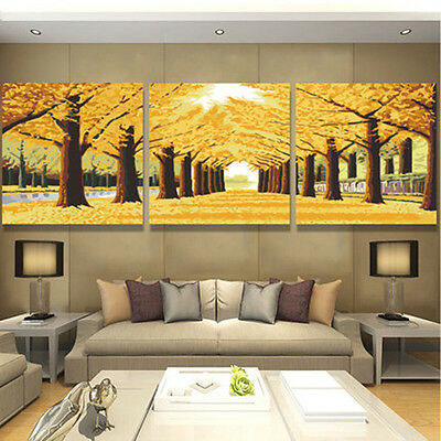 Golden Tree DIY Number Painting Wall Paint TV Background Home Decor Dinning