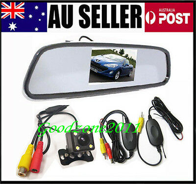 "4 LED Reversing Wireless Camera Car Rear View Kit 170° + 4.3"" LCD Mirror Monitor"
