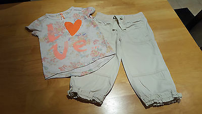 NEXT / GAP Girls Clothes 2 Piece Outfit Sequin Love Top & Crop Trousers Age 7