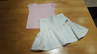 GAP / PRIMARK Girls Clothes 2 Piece Outfit T-Shirt Top & BNWT Skirt Age 5-6 yrs