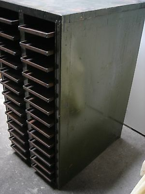Vintage Printing Metal Industrial Letterpress Trays Cabinet Mechanics Tool Box
