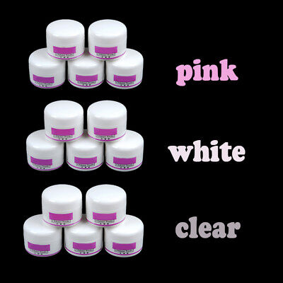 5pc Clear White Pink Acrylic Powder For Nail Liquid Art Tips UV Gel Glitter Kit