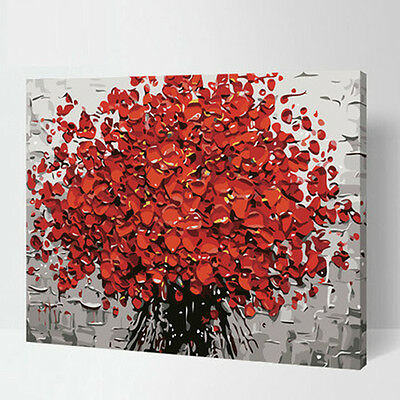 Abstract Red Small Flower DIY Number Painting Wall Paint Living Dinning