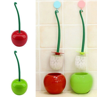 CHERRY Bathroom Toilet Brush & Holder Free Standing Set WC Cleaning Accessories