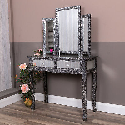 Dressing Table Mirror Set Silver Embossed Black Bedroom Furniture Vintage Home