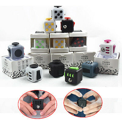 9 Colors Fidget Cube Children Desk Toy Adults Stress Relief cubes toys With Box